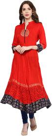 Shakumbhari Red Printed Rayon Straight Anarkali Kurti