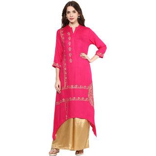 Shakumbhari Pink Geometric Rayon Straight Kurti