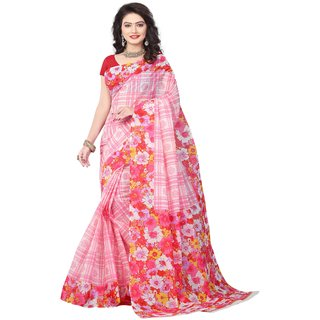 Minu Pink Plain Cotton Without Blouse Saree For Women