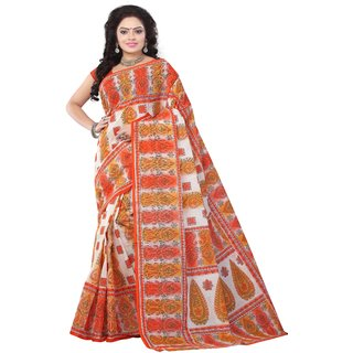 Minu Orange Plain Cotton Without Blouse Saree For Women