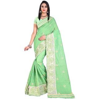 Pari Designerr Multicolor Embroidered Cotton With Blouse Saree For Women