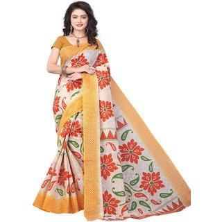 Minu Beige Plain Cotton Without Blouse Saree For Women