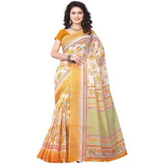 Minu Yellow Plain Cotton Without Blouse Saree For Women