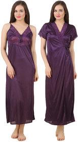 Fasense Women Satin Nightwear Sleepwear 2 PCs Set of Nighty  Wrap Gown GT005