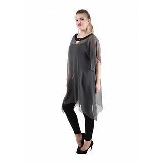 Qurvii Gray Plain Round Neck Tunics