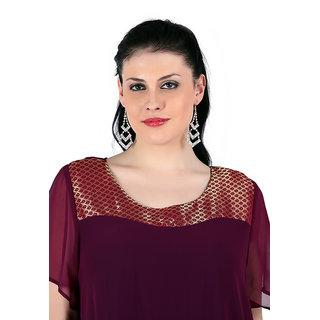 Qurvii Purple Plain Round Neck Basic Top
