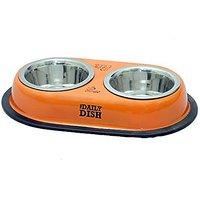 PETHUB Standard Quality Dog Double Dinner Set-Orange-250ml