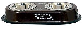 PETHUB Standard Quality Dog Double Dinner Set-Brown-460ml