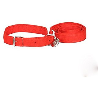PETHUB High Quality and Standard Collar And Leash -Medium-Red