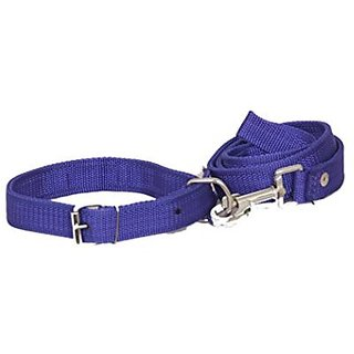 PETHUB High Quality and Standard Collar And Leash -Medium-Blue