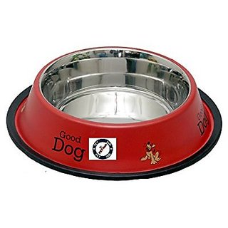 PETHUB QUALITY AND STYLISH DOG FOOD BOWL-460 ML RED