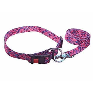 PETHUB High Quality and Standard Collar And Leash Pink Printed-Extra Small