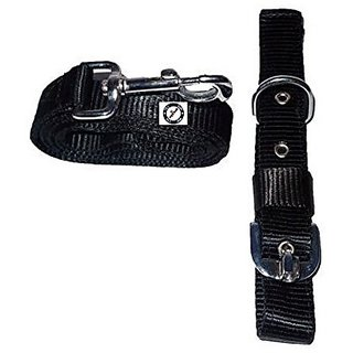 PETHUB High Quality and Standard Collar And Leash Without Padding -Medium-Black