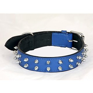 PETHUB Standard Quality Double Row Spike Collar- 1.25 inch- Blue
