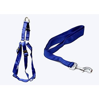 PETHUB High Quality And Stylish Nylon Dog Harness Without padding Medium 1 Inch Blue