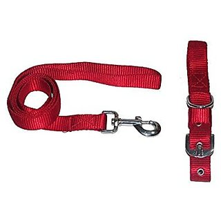 PETHUB High Quality and Standard Collar And Leash Without Padding -Medium-Red