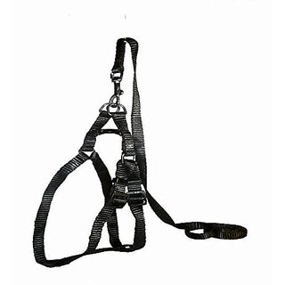 PETHUB High Quality And Stylish Nylon Dog Harness Without padding Medium 1 Inch Black