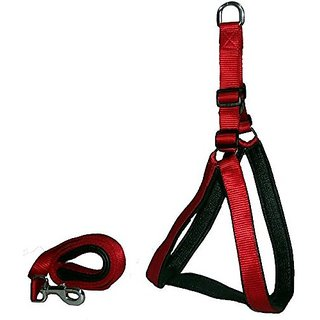 PETHUB High Quality And Stylish Nylon Dog Harness Medium 1 Inch Red