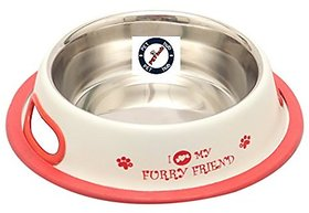 PETHUB QUALITY AND STYLISH DOG FOOD BOWL FURRY FRIEND 460ML WHITE