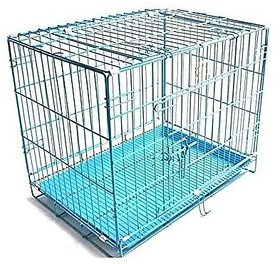 PETHUB QUALITY SQUARE STAINLESS STEEL DOG CAGE BLUE 18 INCHES