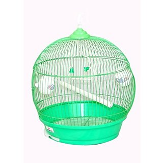 Pethub Quality Round Stainless Steel Bird Cage Green Medium