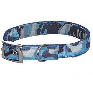 PETHUB Dog Collar With Padding Army Design 1.5 inch-Blue