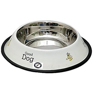 PETHUB QUALITY AND STYLISH DOG FOOD BOWL-920 ML WHITE