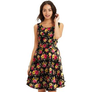Royal Fashion Black Floral A Line Dress Dress For Women