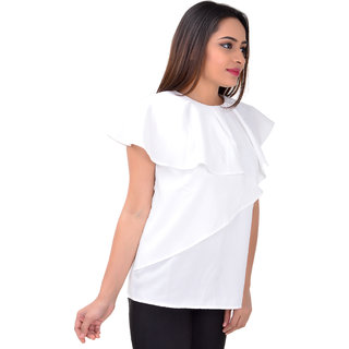 f86b24e5dcba34 Buy Serein Women s Top (Premium crepe White blouse with asymmetric ...