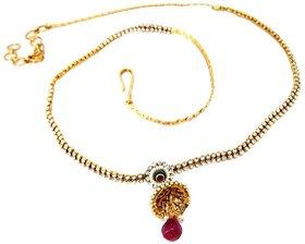 Biyu Jhumki Cubic Zirconia Gold Plated Pearl Bridal Copper Kamarband Saree Waist Belt