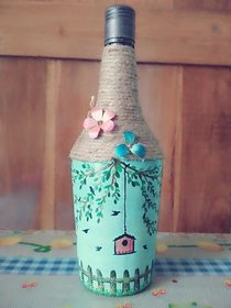 Hand painted bottle- perfect for gifting and home decor