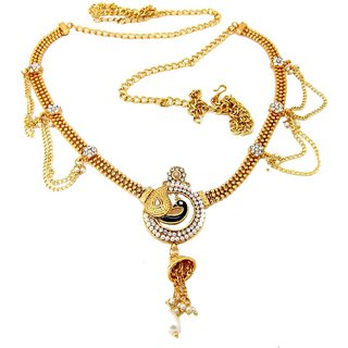 Biyu Gold Plated Peacock style Enmale Cubic Zirconia Pearl Bridal Kamarband Saree Waist Belt