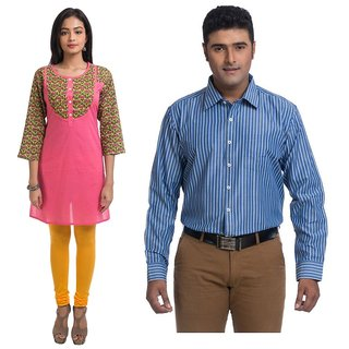 Valentine's special combo of navrachna printed pink kurti  validus men's formal strip blue full sleeve shirt