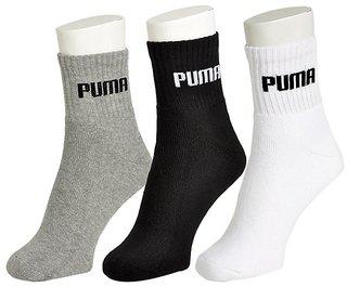 Puma Black Cotton White, Black  Grey Sports Socks - 3 Pair Pack
