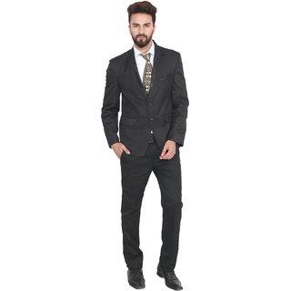 Lee Marc Men'S Solid Formal Black Suits