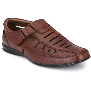 57409bbe5ed AfroJack Men Brown Closed Sandals available at ShopClues for Rs.875