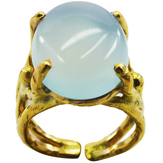 Blue Chalcedony Gold Pleted Ring alluring Blue gemstone Indian gift