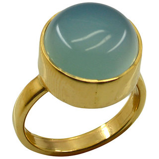 Blue Chalcedony Gold Pleted Ring delicate Blue handmade  Indian gift