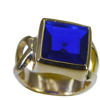 Blue Shappire CZ Gold Pleted Ring toothsome Blue india  Indian gift