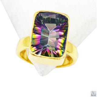 Mystic Quartz Gold Pleted Ring pleasing Multicolor gemstones Indian gift