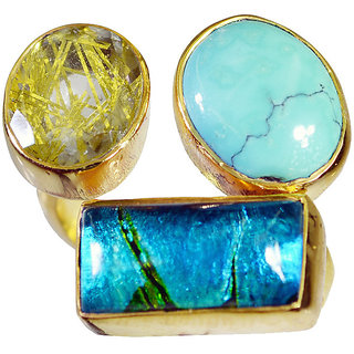 Multi Stone Gold Pleted Ring cute Multicolor supplies Indian gift