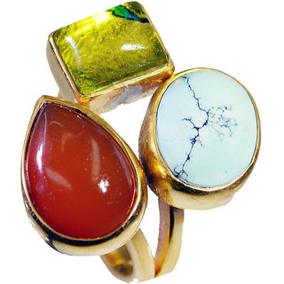 Multi Stone Gold Pleted Ring fascinating Multicolor india  Indian gift