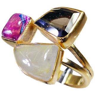 Multi Stone Gold Pleted Ring arresting Multicolor gemstones Indian gift