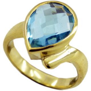 Blue Topaz CZ Gold Pleted Ring adorable Blue gemstone Indian gift