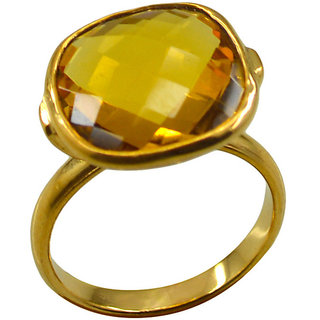 Citrine CZ Gold Pleted Ring seemly Yellow jewelry Indian gift