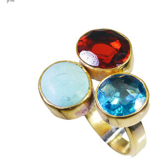 Multi Stone Gold Pleted Ring winning Multicolor jewellery Indian gift