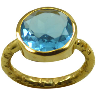 Blue Topaz CZ Gold Pleted Ring engaging Blue handcrafted Indian gift