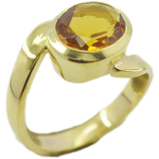 Citrine CZ Gold Pleted Ring resplendent Yellow indian Indian gift