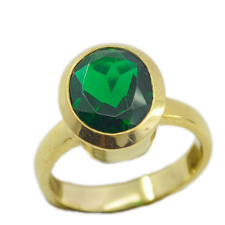 Emerald CZ Gold Pleted Ring aesthetic Green supplies Indian gift