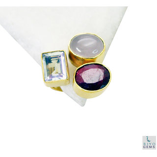 Multi Stone Gold Pleted Ring classy Multicolor Designer Indian gift